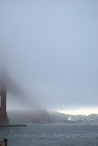 Fog Obscures The Golden Gate Bridge
