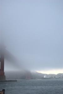 Fog Obscures The Golden Gate Bridge