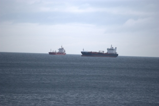 Cargo ships on Lake Erie