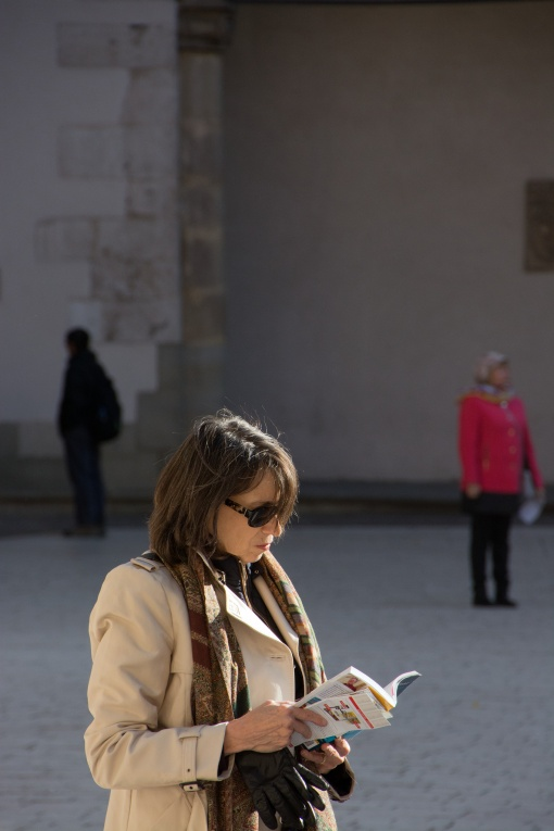Woman looking at a guide book.