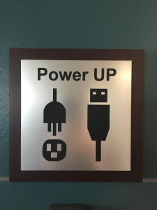 Sign for power outlets at airport