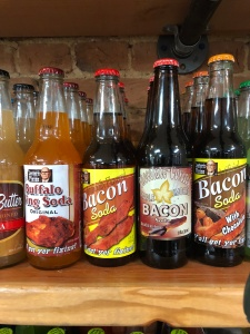 Bottles of bacon and chicken wing soda