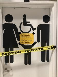 Door with caution tape.