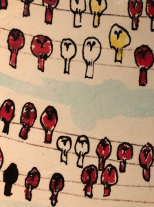 Birds lined up as a metaphor of lining thngs up