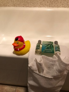 Soap, Shampoo, Towel and Rubber Duckie