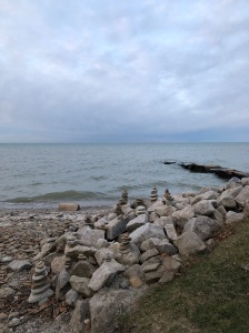 Rock piled by the shore