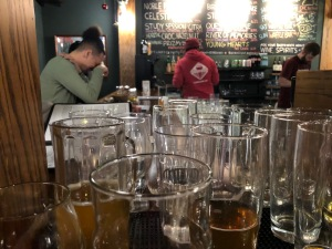Dirty glasses at a bar